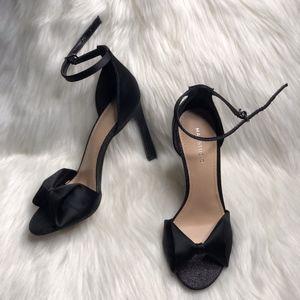 Max Studio Evening Satin Bow Matte Glitter Sandals